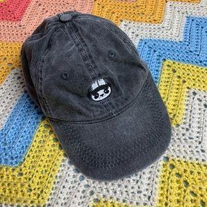 Dark Grey Denim Dad Hat w/ Panda Bear Patch